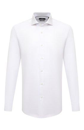 Мужская хлопковая сорочка BOSS белого цвета, арт. 50459678 | Фото 1 (Рукава: Длинные; Материал внешний: Хлопок; Длина (для топов): Стандартные; Случай: Вечерний; Принт: Однотонные; Манжеты: Под запонки; Рубашки М: Slim Fit; Стили: Классический; Воротник: Акула)