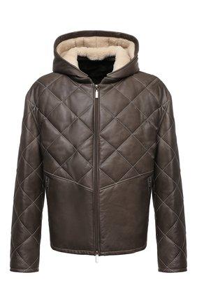 Мужская кожаная куртка с меховой подкладкой ZILLI хаки цвета, арт. MAW-KYLE0-01985/0003/60-64   Фото 1 (Длина (верхняя одежда): Короткие; Рукава: Длинные; Кросс-КТ: Куртка; Мужское Кросс-КТ: Кожа и замша; Стили: Кэжуэл; Big sizes: Big Sizes)