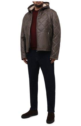 Мужская кожаная куртка с меховой подкладкой ZILLI хаки цвета, арт. MAW-KYLE0-01985/0003/60-64   Фото 2 (Длина (верхняя одежда): Короткие; Рукава: Длинные; Кросс-КТ: Куртка; Мужское Кросс-КТ: Кожа и замша; Стили: Кэжуэл; Big sizes: Big Sizes)