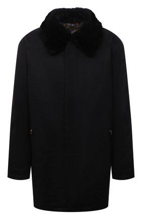 Мужской кашемировое пальто с меховой отделкой ZILLI черного цвета, арт. MAW-TIMBU-03001/0003/66-68 | Фото 1 (Материал подклада: Шелк; Длина (верхняя одежда): До середины бедра; Материал внешний: Кашемир, Шерсть; Рукава: Длинные; Мужское Кросс-КТ: пальто-верхняя одежда; Стили: Классический; Big sizes: Big Sizes)