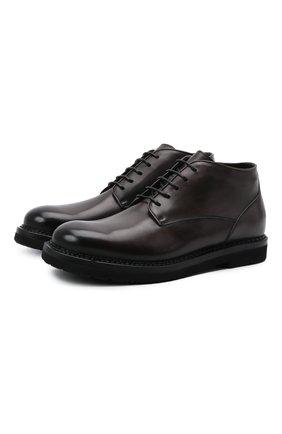 Мужские кожаные ботинки W.GIBBS темно-коричневого цвета, арт. 2035016/2574 | Фото 1 (Материал утеплителя: Натуральный мех; Мужское Кросс-КТ: Ботинки-обувь, зимние ботинки; Подошва: Плоская)