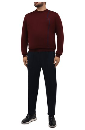 Мужские брюки MARCO PESCAROLO темно-синего цвета, арт. BAIA/ZIP/4462 | Фото 2 (Материал внешний: Лиоцелл; Мужское Кросс-КТ: Брюки-трикотаж; Случай: Повседневный; Стили: Кэжуэл; Big sizes: Big Sizes; Длина (брюки, джинсы): Стандартные)