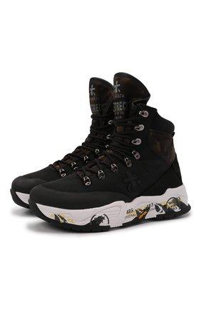 Мужские ботинки fitztreck PREMIATA черного цвета, арт. FITZTRECK/VAR208 | Фото 1 (Материал внутренний: Натуральная кожа; Подошва: Массивная; Материал внешний: Текстиль; Стили: Гранж; Мужское Кросс-КТ: Ботинки-обувь, Хайкеры-обувь)