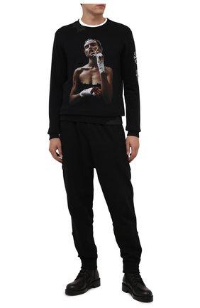 Мужской хлопковый свитшот RH45 черного цвета, арт. KF08-S | Фото 2 (Длина (для топов): Стандартные; Материал внешний: Хлопок; Рукава: Длинные; Мужское Кросс-КТ: свитшот-одежда; Принт: С принтом; Стили: Гранж)