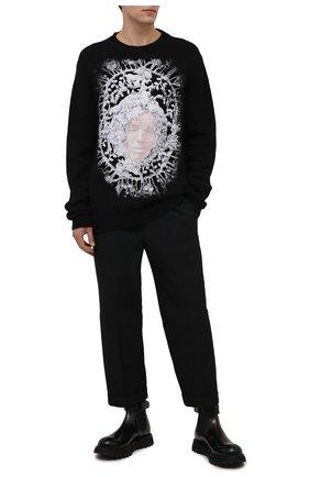 Мужской свитер RH45 черного цвета, арт. KK28 | Фото 2 (Материал внешний: Шерсть, Синтетический материал; Длина (для топов): Удлиненные; Рукава: Длинные; Мужское Кросс-КТ: Свитер-одежда; Принт: С принтом; Стили: Гранж)