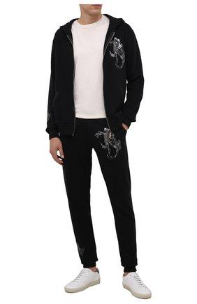 Мужские хлопковые джоггеры RH45 черного цвета, арт. KP20-I | Фото 2 (Материал внешний: Хлопок; Длина (брюки, джинсы): Стандартные; Силуэт М (брюки): Джоггеры; Мужское Кросс-КТ: Брюки-трикотаж; Стили: Спорт-шик)