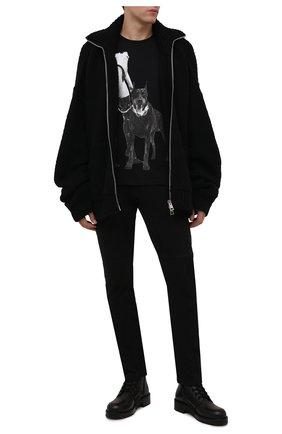 Мужская хлопковая футболка RH45 черного цвета, арт. KS04-X | Фото 2 (Материал внешний: Хлопок; Рукава: Короткие; Длина (для топов): Стандартные; Принт: С принтом; Стили: Панк)