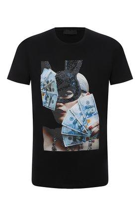Мужская хлопковая футболка RH45 черного цвета, арт. KS05-I | Фото 1 (Материал внешний: Хлопок; Рукава: Короткие; Длина (для топов): Стандартные; Принт: С принтом; Стили: Панк)