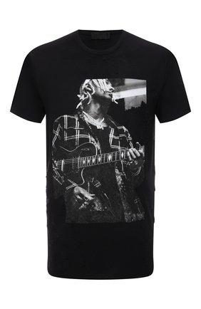 Мужская хлопковая футболка RH45 черного цвета, арт. KX03 | Фото 1 (Длина (для топов): Стандартные; Материал внешний: Хлопок; Рукава: Короткие; Принт: С принтом; Стили: Панк)