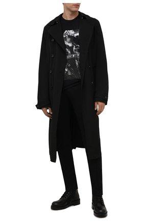 Мужская хлопковая футболка RH45 черного цвета, арт. KX03 | Фото 2 (Длина (для топов): Стандартные; Материал внешний: Хлопок; Рукава: Короткие; Принт: С принтом; Стили: Панк)