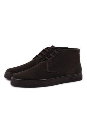 Мужские замшевые ботинки CORNELIANI коричневого цвета, арт. 88TM44-1820919 | Фото 1 (Подошва: Плоская; Материал внутренний: Текстиль, Натуральная кожа; Мужское Кросс-КТ: Ботинки-обувь, Дезерты-обувь; Материал внешний: Замша)