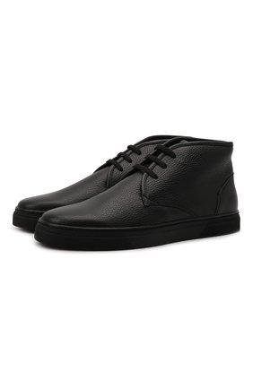 Мужские кожаные ботинки CORNELIANI черного цвета, арт. 88TM44-1820955 | Фото 1 (Материал внутренний: Текстиль, Натуральная кожа; Подошва: Плоская; Мужское Кросс-КТ: Ботинки-обувь, Дезерты-обувь)