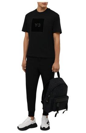 Мужские хлопковые джоггеры Y-3 черного цвета, арт. GV4202/M | Фото 2 (Материал внешний: Хлопок; Длина (брюки, джинсы): Укороченные; Силуэт М (брюки): Джоггеры; Мужское Кросс-КТ: Брюки-трикотаж; Стили: Спорт-шик)