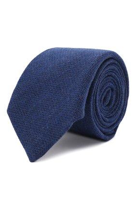 Мужской галстук из шерсти и шелка LUIGI BORRELLI синего цвета, арт. CR361134 | Фото 1 (Материал: Шерсть; Принт: Без принта)