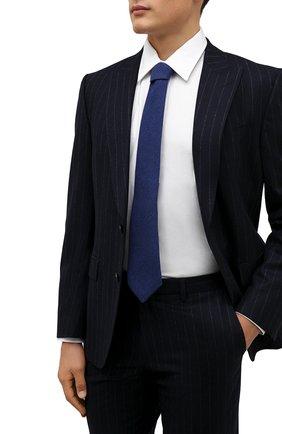 Мужской галстук из шерсти и шелка LUIGI BORRELLI синего цвета, арт. CR361134 | Фото 2 (Материал: Шерсть; Принт: Без принта)