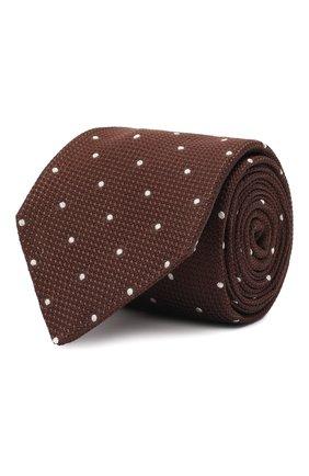 Мужской шелковый галстук LUIGI BORRELLI коричневого цвета, арт. CR361247/L0NG | Фото 1 (Материал: Шелк, Текстиль; Принт: С принтом)
