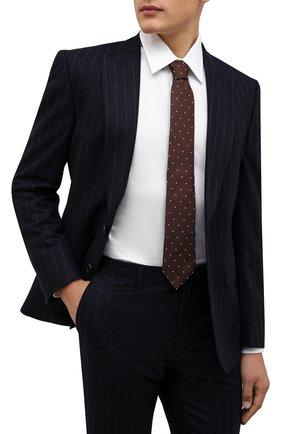 Мужской шелковый галстук LUIGI BORRELLI коричневого цвета, арт. CR361247/L0NG | Фото 2 (Материал: Шелк, Текстиль; Принт: С принтом)