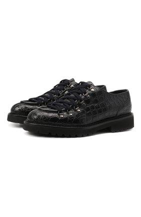 Мужские ботинки из кожи каймана DOUCAL'S темно-синего цвета, арт. DU2908PHILUM035NB00/CYAC | Фото 1 (Подошва: Плоская; Материал утеплителя: Натуральный мех; Мужское Кросс-КТ: Ботинки-обувь, зимние ботинки)