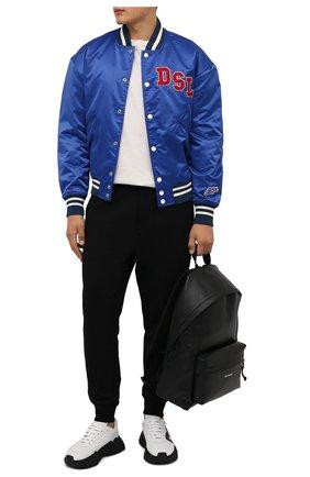 Мужской утепленный бомбер DIESEL синего цвета, арт. A03157/0BBAG | Фото 2 (Рукава: Длинные; Материал внешний: Синтетический материал; Длина (верхняя одежда): Короткие; Материал подклада: Хлопок; Кросс-КТ: Куртка; Стили: Спорт-шик; Принт: С принтом)