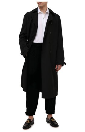 Мужские брюки GIORGIO ARMANI темно-синего цвета, арт. 1WGPP0L1/T0025 | Фото 2 (Длина (брюки, джинсы): Стандартные; Материал внешний: Купро, Вискоза; Материал подклада: Купро; Случай: Повседневный; Стили: Кэжуэл)