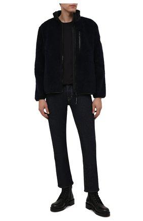 Мужская куртка CANADA GOOSE темно-синего цвета, арт. 7017M | Фото 2 (Длина (верхняя одежда): Короткие; Материал внешний: Синтетический материал; Рукава: Длинные; Кросс-КТ: Куртка; Мужское Кросс-КТ: утепленные куртки; Стили: Спорт-шик)