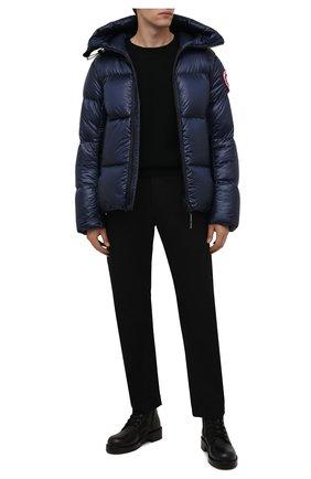 Мужская пуховая куртка crofton CANADA GOOSE темно-синего цвета, арт. 2252M | Фото 2 (Материал подклада: Синтетический материал; Материал утеплителя: Пух и перо; Материал внешний: Синтетический материал; Кросс-КТ: Куртка; Мужское Кросс-КТ: пуховик-короткий; Длина (верхняя одежда): Короткие; Стили: Спорт-шик; Рукава: Длинные)