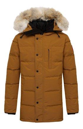 Мужская пуховик с меховой отделкой carson CANADA GOOSE светло-коричневого цвета, арт. 3805M   Фото 1 (Материал подклада: Синтетический материал; Материал внешний: Синтетический материал; Материал утеплителя: Пух и перо; Кросс-КТ: Куртка; Мужское Кросс-КТ: пуховик-короткий; Длина (верхняя одежда): До середины бедра; Стили: Кэжуэл; Рукава: Длинные)