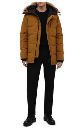 Мужская пуховик с меховой отделкой carson CANADA GOOSE светло-коричневого цвета, арт. 3805M   Фото 2 (Материал подклада: Синтетический материал; Материал внешний: Синтетический материал; Материал утеплителя: Пух и перо; Кросс-КТ: Куртка; Мужское Кросс-КТ: пуховик-короткий; Длина (верхняя одежда): До середины бедра; Стили: Кэжуэл; Рукава: Длинные)