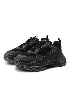 Мужские кроссовки triple s BALENCIAGA черного цвета, арт. 536737/W3CN3 | Фото 1 (Стили: Гранж; Материал внутренний: Текстиль; Материал внешний: Текстиль; Подошва: Массивная)
