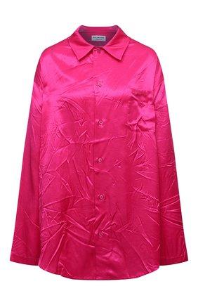Женская рубашка BALENCIAGA фуксия цвета, арт. 658964/TL028   Фото 1 (Длина (для топов): Удлиненные; Материал внешний: Купро, Вискоза; Рукава: Длинные; Стили: Гламурный; Женское Кросс-КТ: Рубашка-одежда; Принт: Без принта)