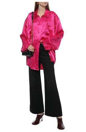 Женская рубашка BALENCIAGA фуксия цвета, арт. 658964/TL028   Фото 2 (Длина (для топов): Удлиненные; Материал внешний: Купро, Вискоза; Рукава: Длинные; Стили: Гламурный; Женское Кросс-КТ: Рубашка-одежда; Принт: Без принта)
