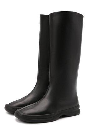 Женские кожаные сапоги THE ROW черного цвета, арт. F1209-L82   Фото 1 (Подошва: Плоская; Высота голенища: Средние; Каблук тип: Устойчивый; Каблук высота: Низкий; Материал внутренний: Натуральная кожа)