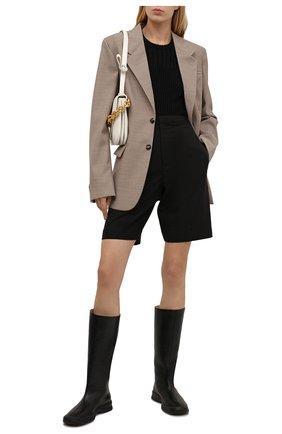 Женские кожаные сапоги THE ROW черного цвета, арт. F1209-L82   Фото 2 (Подошва: Плоская; Высота голенища: Средние; Каблук тип: Устойчивый; Каблук высота: Низкий; Материал внутренний: Натуральная кожа)