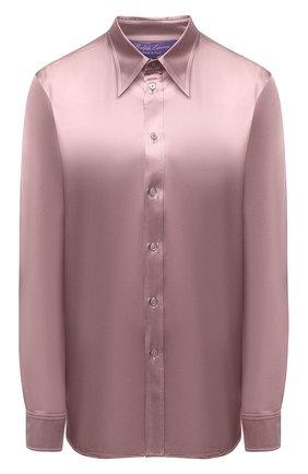 Женская шелковая рубашка RALPH LAUREN розового цвета, арт. 290858215   Фото 1 (Рукава: Длинные; Длина (для топов): Стандартные; Материал внешний: Шелк; Стили: Романтичный; Женское Кросс-КТ: Рубашка-одежда; Принт: Без принта)