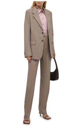 Женская шелковая рубашка RALPH LAUREN розового цвета, арт. 290858215   Фото 2 (Рукава: Длинные; Длина (для топов): Стандартные; Материал внешний: Шелк; Стили: Романтичный; Женское Кросс-КТ: Рубашка-одежда; Принт: Без принта)