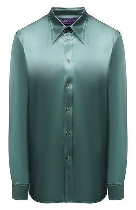 Женская шелковая рубашка RALPH LAUREN зеленого цвета, арт. 290858215 | Фото 1 (Материал внешний: Шелк; Стили: Романтичный; Рукава: Длинные; Женское Кросс-КТ: Рубашка-одежда; Длина (для топов): Стандартные; Принт: Без принта)