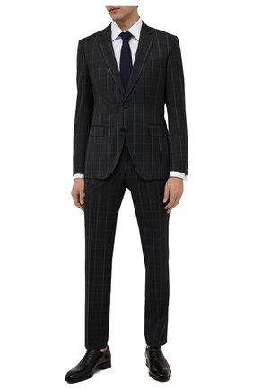 Мужской шерстяной костюм BOSS темно-синего цвета, арт. 50458899 | Фото 1 (Материал внешний: Шерсть; Костюмы М: Однобортный; Стили: Классический; Рукава: Длинные)