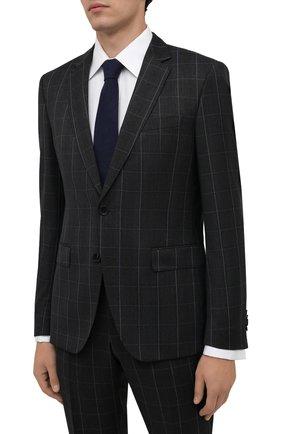 Мужской шерстяной костюм BOSS темно-синего цвета, арт. 50458899 | Фото 2 (Материал внешний: Шерсть; Костюмы М: Однобортный; Стили: Классический; Рукава: Длинные)