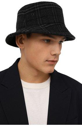 Мужская панама из шерсти и кашемира BURBERRY серого цвета, арт. 8044077 | Фото 2 (Материал: Шерсть)