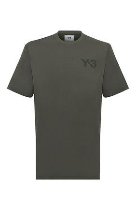 Мужская хлопковая футболка Y-3 зеленого цвета, арт. HF7141/M | Фото 1 (Рукава: Короткие; Длина (для топов): Стандартные; Материал внешний: Хлопок; Принт: С принтом; Стили: Спорт-шик)