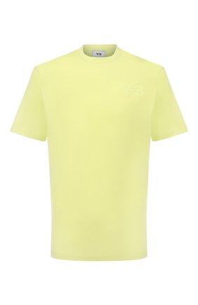 Мужская хлопковая футболка Y-3 желтого цвета, арт. HB3479/M | Фото 1 (Рукава: Короткие; Длина (для топов): Стандартные; Материал внешний: Хлопок; Принт: С принтом; Стили: Спорт-шик)