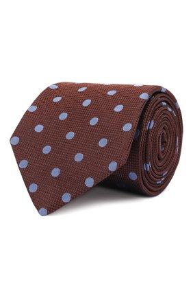 Мужской шелковый галстук LUIGI BORRELLI коричневого цвета, арт. CR361176 | Фото 1 (Материал: Текстиль, Шелк; Принт: С принтом)