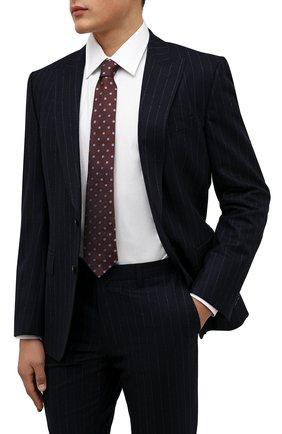 Мужской шелковый галстук LUIGI BORRELLI коричневого цвета, арт. CR361176 | Фото 2 (Материал: Текстиль, Шелк; Принт: С принтом)