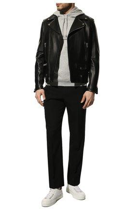 Мужской хлопковое худи SAINT LAURENT серого цвета, арт. 677259/YB20D | Фото 2 (Рукава: Длинные; Материал внешний: Хлопок; Длина (для топов): Стандартные; Мужское Кросс-КТ: Худи-одежда; Принт: С принтом; Стили: Спорт-шик)
