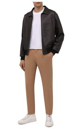 Мужские хлопковые брюки ERMENEGILDO ZEGNA бежевого цвета, арт. UVI14/TP24 | Фото 2 (Материал внешний: Хлопок; Стили: Кэжуэл; Случай: Повседневный; Длина (брюки, джинсы): Стандартные)