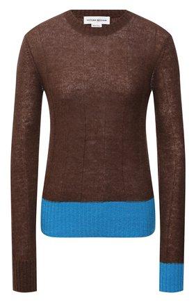 Женский пуловер VICTORIA BECKHAM коричневого цвета, арт. 1521KTP002925A | Фото 1 (Материал внешний: Шерсть, Синтетический материал; Рукава: Длинные; Длина (для топов): Стандартные; Стили: Кэжуэл; Женское Кросс-КТ: Пуловер-одежда)