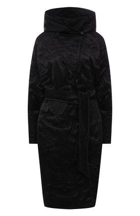Женское утепленное пальто GIORGIO ARMANI черного цвета, арт. 1WH0L075/T030N | Фото 1 (Длина (верхняя одежда): До колена; Материал подклада: Шелк; Рукава: Длинные; Материал внешний: Шелк; Стили: Кэжуэл; 1-2-бортные: Двубортные)