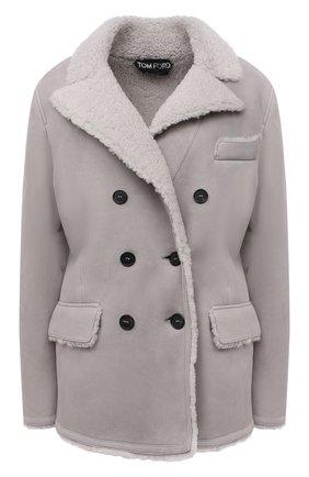 Женская дубленка TOM FORD серого цвета, арт. CSF620-FUX124 | Фото 1 (Материал внешний: Натуральный мех; Стили: Кэжуэл; Длина (верхняя одежда): Короткие; Рукава: Длинные)