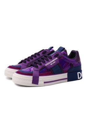 Женские комбинированные кеды custom 2.zero DOLCE & GABBANA фиолетового цвета, арт. CK1863/A0737 | Фото 1 (Подошва: Платформа; Материал внутренний: Натуральная кожа)