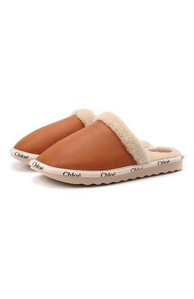 Женского кожаные домашние туфли woody CHLOÉ коричневого цвета, арт. CHC21A487S8   Фото 1 (Материал утеплителя: Натуральный мех; Подошва: Платформа)
